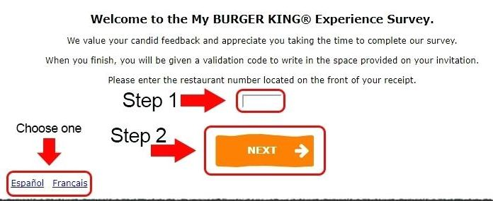 burger king survey code