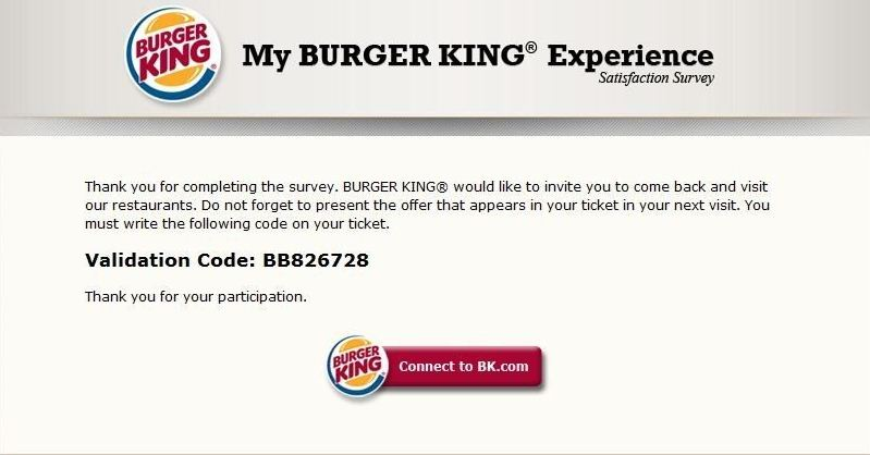 burger king survey validation code