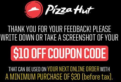 pizza hut feedback survey thanks