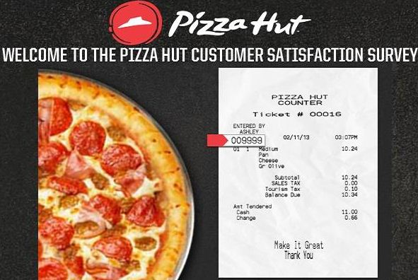 pizza hut survey code