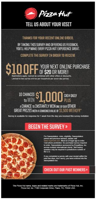 pizza hut survey details