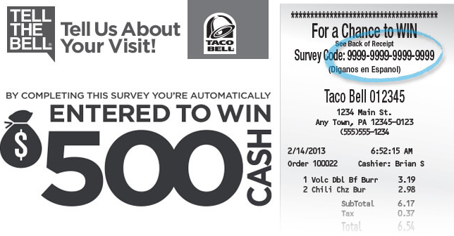 taco bell survey rewards
