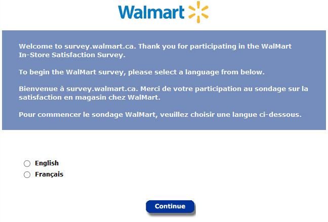 walmart survey select language
