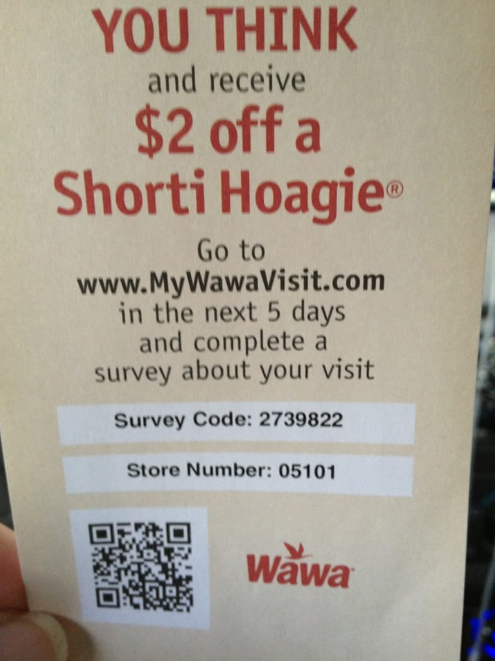 wawa survey code and store number