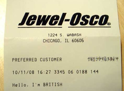 Jewel-Osco survey receipt