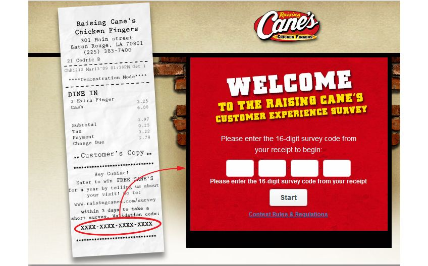 Raising Cane's Survey code