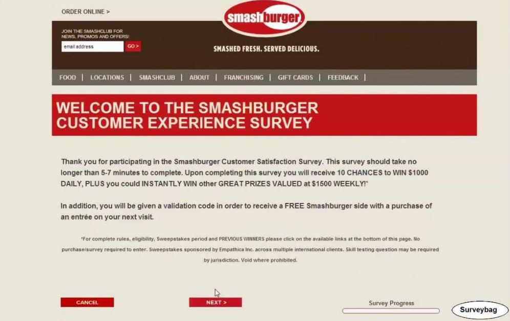 Smashburger Survey process