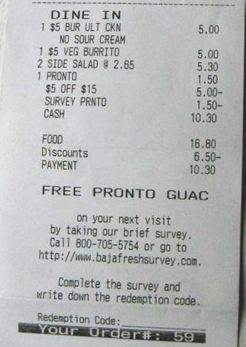 baja fresh survey receipt