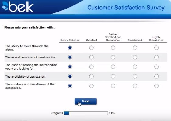 belk survey process