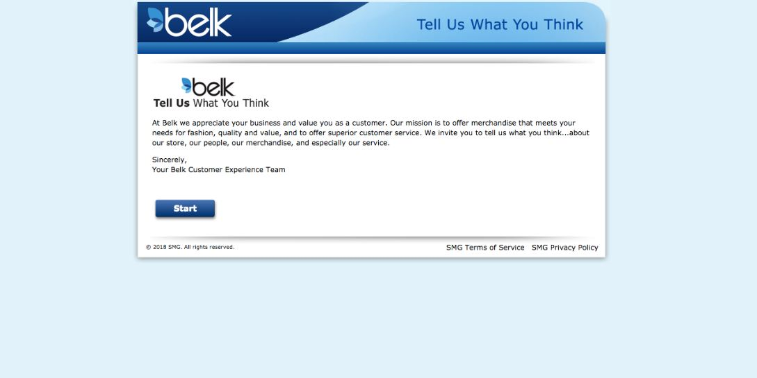 belk survey steps