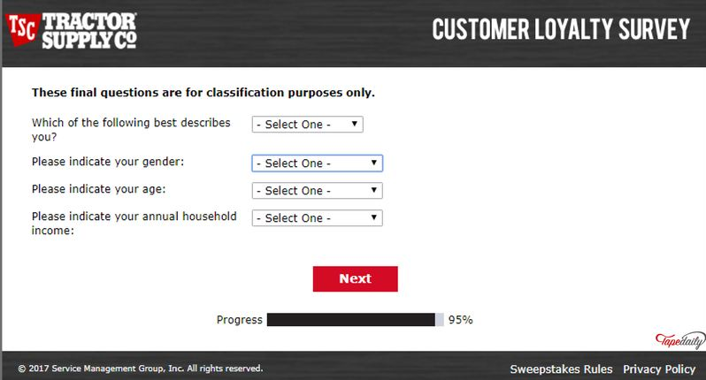 tractor supply survey rules