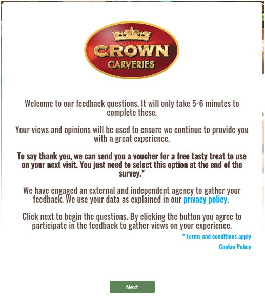 Crown Carveries Guest Satisfaction Survey