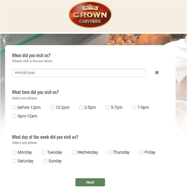 Crown Carveries Customer Experience Survey