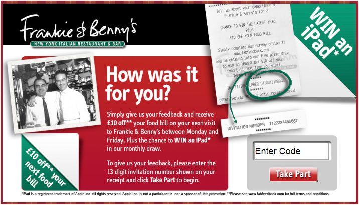 Frankie & Bennys customer feedback survey