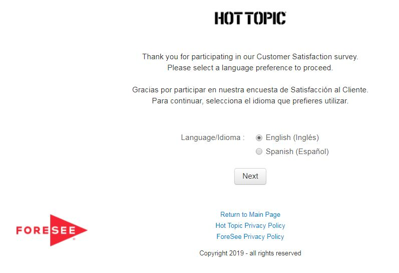 Hot Topic Customer Satisfaction Survey