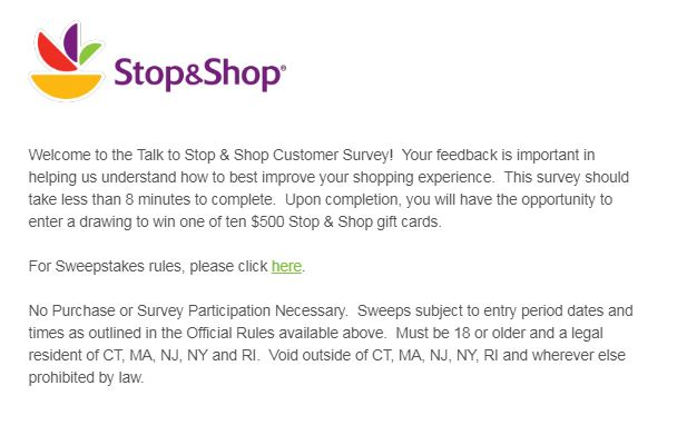 stop and shop guest satisfaction survey