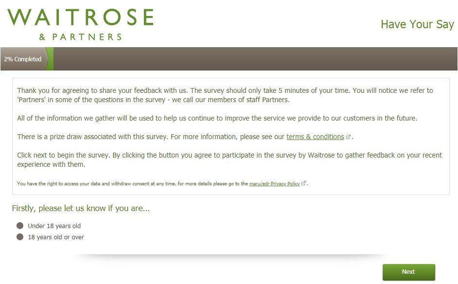 waitrose customer feedback survey