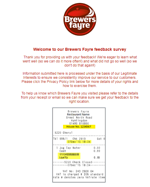 Brewers fayre customer experience survey