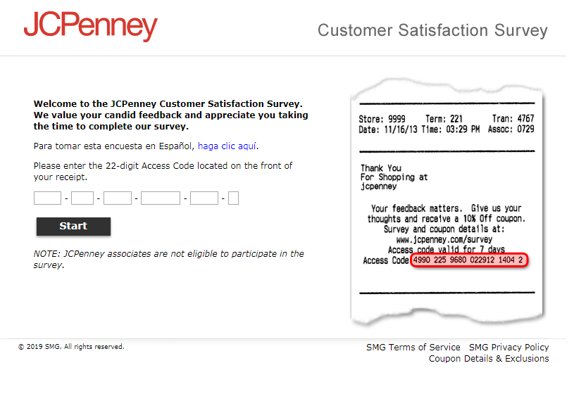 jc penney feedback survey