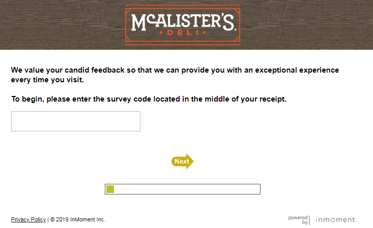 mcalister customer feedback survey