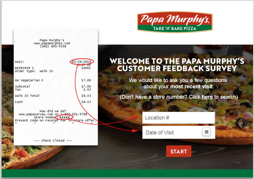 Papa Murphy pizza survey